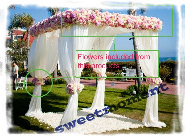 551.00  White Wedding pavilion Drape & pipe with valance tent stand and Curtain Fake Flowers included-in Curtains from Home & Garden on Aliexpress.com | Alibaba Group