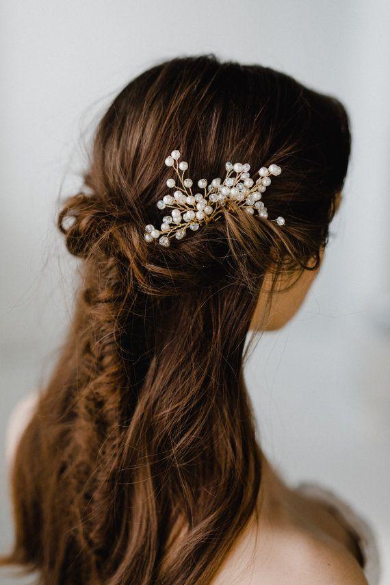 Gold Bridal Hair Pin  Wedding Hair Pins  Pearl Hair Pin