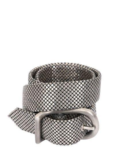 LAURA B - Silver Pleated Brass Mesh Belt