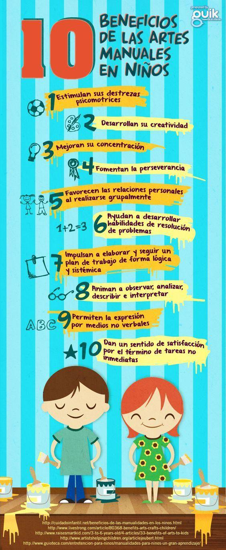 10 Beneficios de las Actividades Manuales en los Niños | #Infografía #Educación