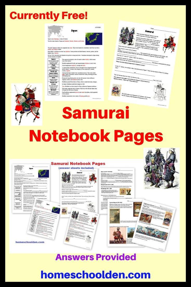 Free Samurai Notebook Pages In 2020 History Worksheets Homeschool Curriculum Homeschool
