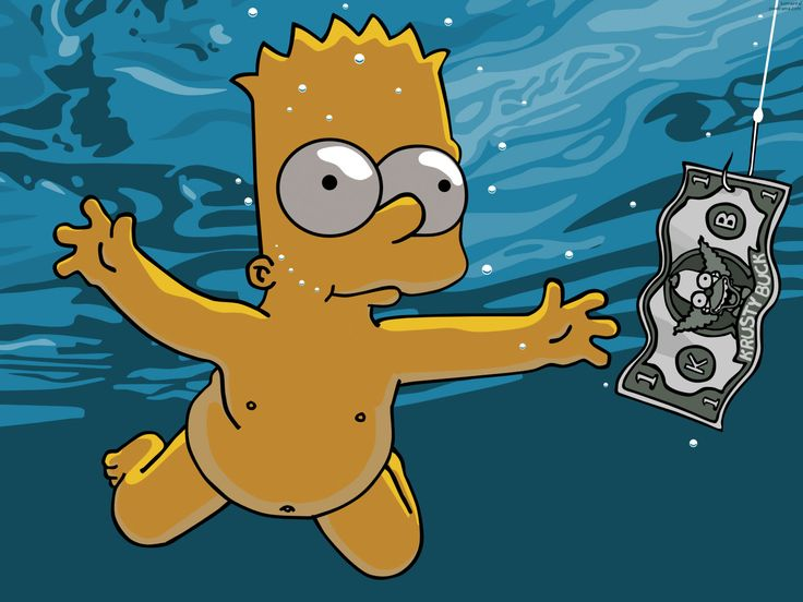 Bart y Nirvana...ja en una imagen..nunca me caso de escuchar los temasos de ese CD