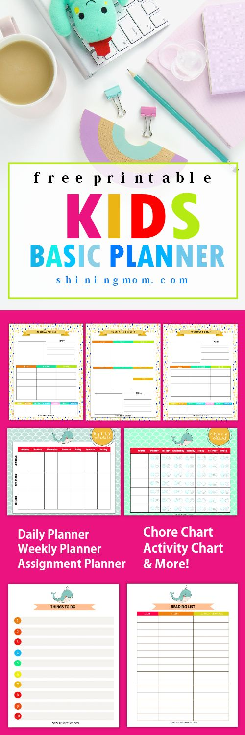 Here's a sweet surprise for all of you mommy friends: a free printable kids planner for your little ones! This planner is fun and colorful, something that your kids will love!