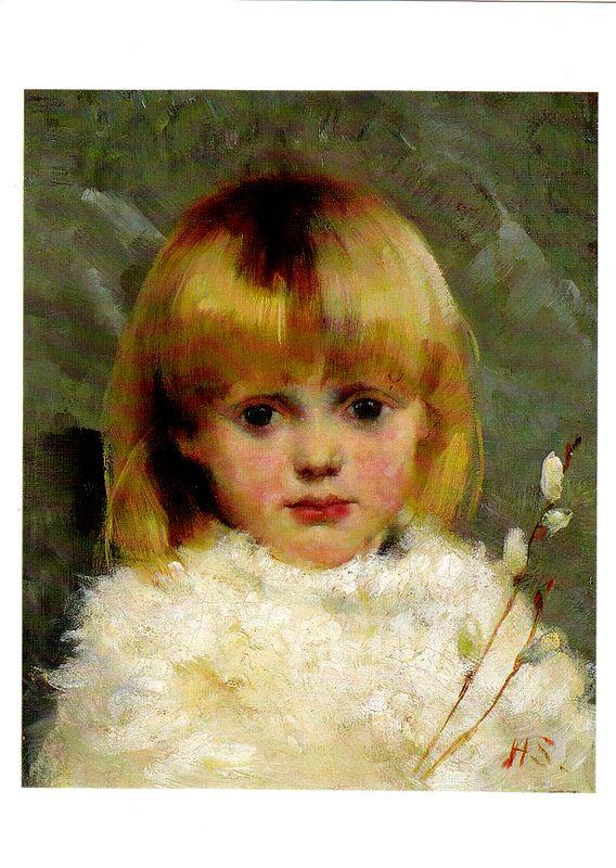 Kuva albumissa HELENE SCHJERFBECK - Google Kuvat.  Pajunkissatyttö 1886.  Yksityiskokoelma.