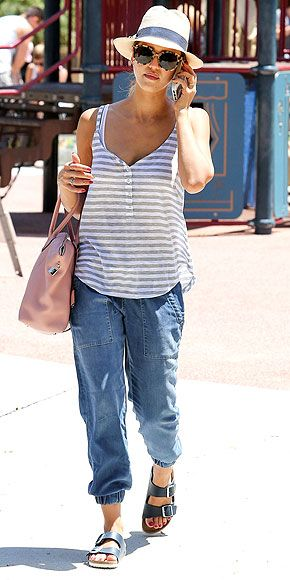 Love Her Outfit! | JESSICA ALBA | Normcore; noun; fashion trend gaining popularity among celebs and street style bloggers defined as being normal, average or even bland, but not in a bad way (yes, it's a confusing idea). We'll use it in a sentence: Jessica Alba wears a striped tank with elastic-ankle Bella Dahl jogger pants and Birkenstocks for a normcore outfit that feels easy-breezy and not-too-try-hard.