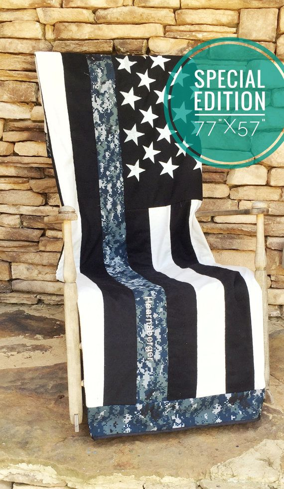 US Navy Blanket/Throw - Thin Nwu Line American Flag Blanket - Throw - US Navy Quilt - US Navy - Support Our Troops - Navy Wife - Navy Family