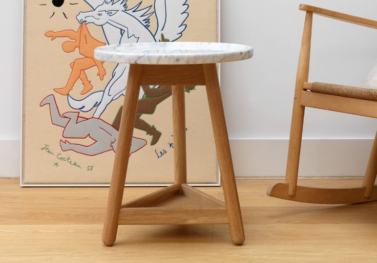 Carve side table with white marble top by Bethan Gray