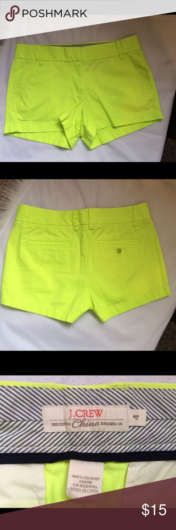 J. Crew chino shorts highlighter neon yellow sz 4 J. Crew chino shorts highlighter neon yellow sz 4 like new cond J. Crew Shorts