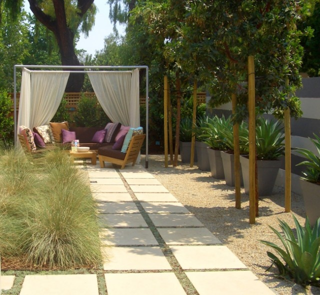 Walkway seating curtains grasses patio backyard Outside rooms garden design
