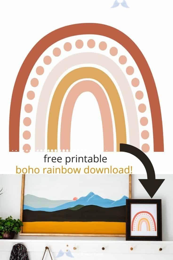 Free Printable Boho Rainbow Wall Art Br Dress Up A Wall With This Free Printable Boho Rainbow Wall Art Print Print Easily At Home On Your Own Printer It S S I 2020