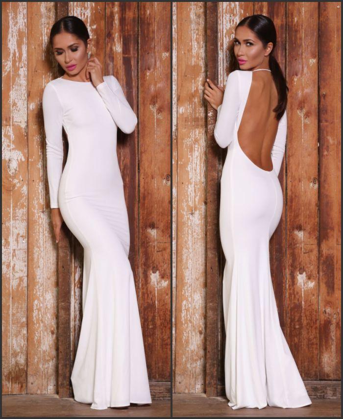 Goddess White Long Sleeve Open Back Maxi Dress