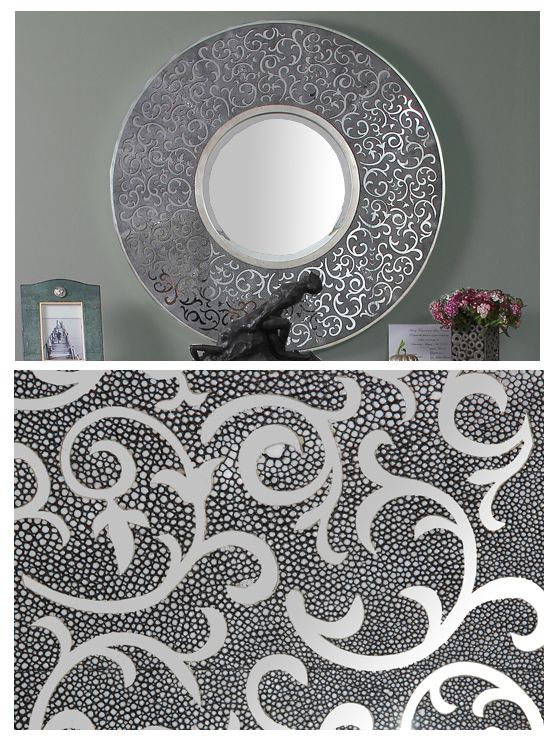 A funky contemporary mirror based on traditional patterns. I have used traditional natural colours, charcoal & antiqued silver metal leaf as the pattern is dominating enough without drama.