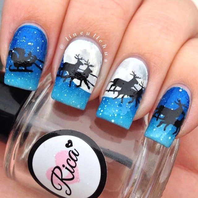 christmas nail art by lineullehus