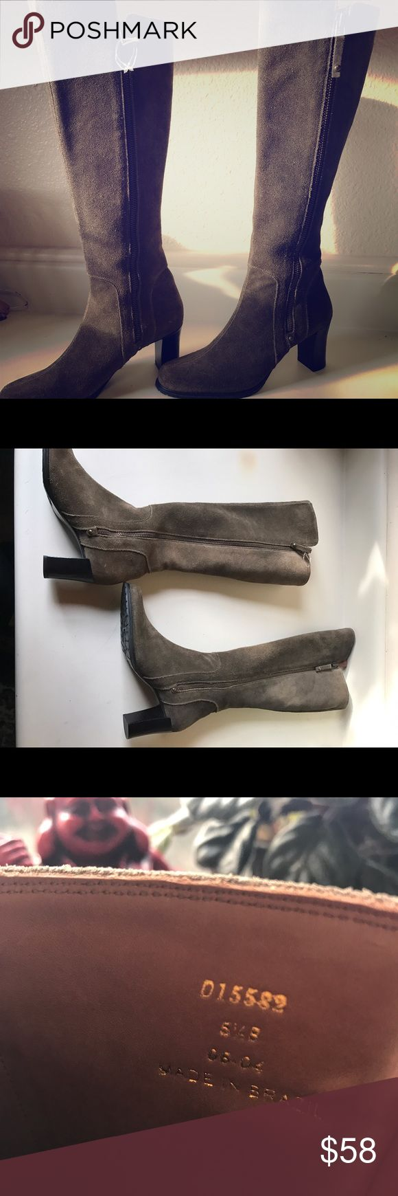 """Cole Haan suede knee high boots with heel 5 1/2 These boots are NWOT, and are a brownish/grayish/olive color. Suede. 3"""" heel. Functioning zippers on both sides of boots. Vibram rubber tread on soles. Cole Haan Shoes Heeled Boots"""