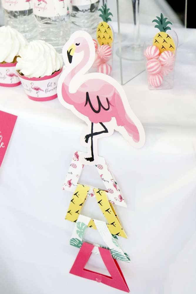 Pink flamingo & pineapple birthday party! See more party ideas at CatchMyParty.com!