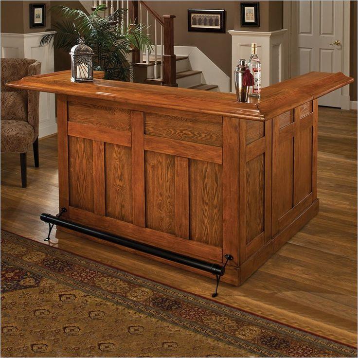 Hillsdale Classic Large Oak Wrap Around Home Bar