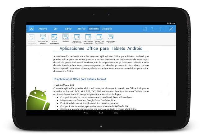 Aplicaciones Office para Tablets Android gratis