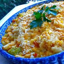 Katy's Scalloped Corn | A simple casserole made with canned corn. Re-pin if you like quick and easy recipes!
