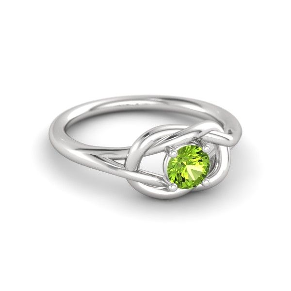 Round Peridot Sterling Silver Ring | Strong Knot Ring (5mm) | Gemvara