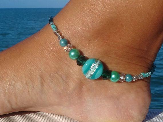 Bracelet de cheville vert, Sarcelle Bracelet de cheville cristal, bracelet de cheville de plage, bijoux perles,