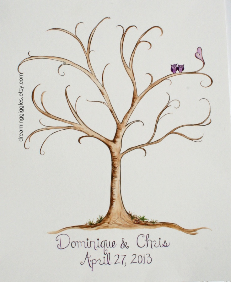 Large Original WEDDING THUMBPRINT TREE For Guest Book via Etsy.
