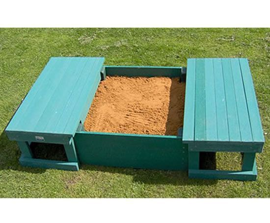 Beautiful Sandbox W/ Sliding Bench Seat Cover   So Smart! No More Giant Litter Box