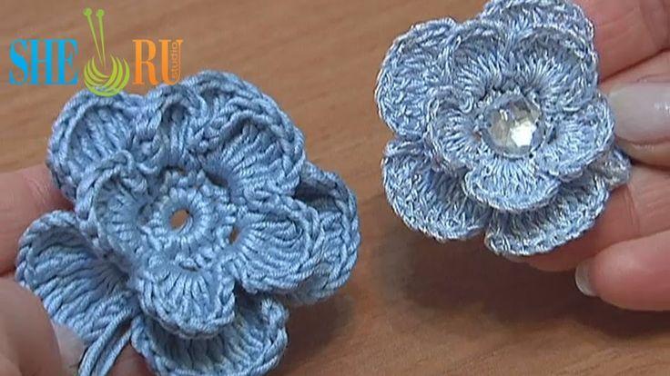 Crochet 3D Layered Flower Tutorial (+playlist) ❁•Teresa Restegui http://www.pinterest.com/teretegui/•❁