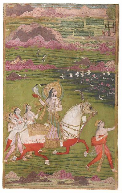 Sultana Chand Bibi Hawking. She rides a white horse colored red with henna to symbolize its wading through blood (for bravery in battle). 1700 Deccan, India.