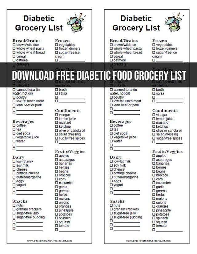 Download Free Diabetic Food Grocery List | Favorite ...