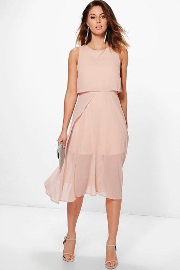 Sybil Chiffon Double Layer Midi Skater Dress by Boohoo. Dresses are the most-wanted wardrobe item for day-to-night dressing. From cool-tone whites to block brights, we've got the everyday skater dresses and party-ready bodycon styles that are perfect for transitioning from day to play. Minis,... #boohoo #dresses