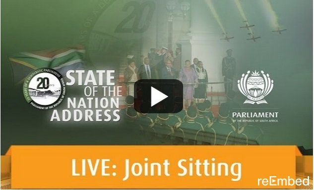 Government's live link to the 2015 State of the Nation Address... but don't expect to see the DA on the red carpet Here it is, the official livestream for this years smoke and mirror charade, with some red carpet shenanigans by everyone except the Democratic alliance. http://www.thesouthafrican.com/governments-live-link-to-the-2015-state-of-the-nation-address-but-dont-expect-to-see-the-da-on-the-red-carpet/