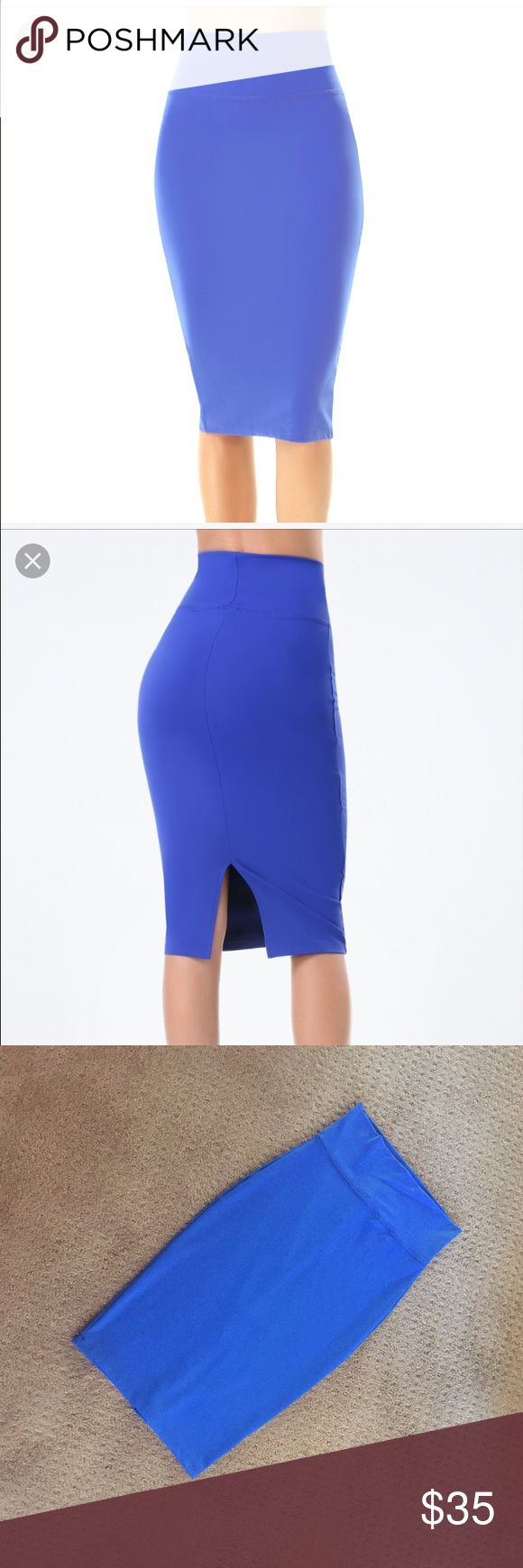 New Royal Blue BEBE Bodycon Midi Skirt XS New w tags. Bebe Midi skirt. Bodycon w lots of stretch. Meant to be worn high waisted but doesn't have to be. Bright royal blue color. Size XS. Org $69. No trades. Cheaper on ♏️ercari bebe Skirts Midi