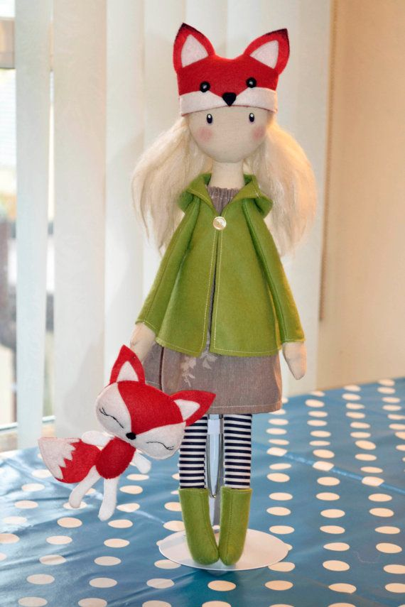 Winter Cloth Doll Rag doll textile felt fox plush toy