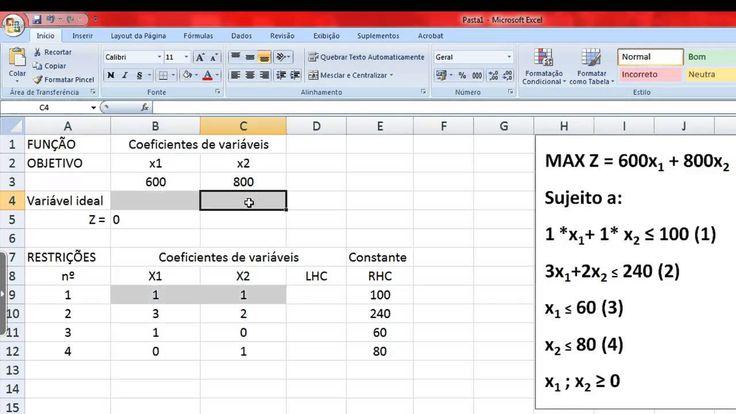 Resolução de Problemas de Programação Linear através do Solver, no Excel