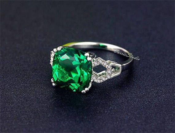 Cojín anillo Esmeralda Esmeralda anillo de compromiso anillo
