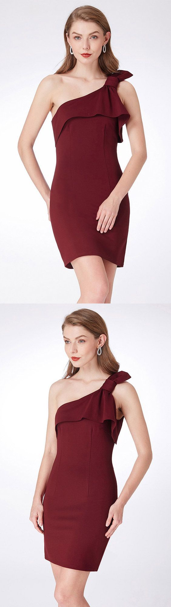 $49 Simple One Shoulder Burgundy Cocktail Dress For Party #EP04020BD – GemGrace.com