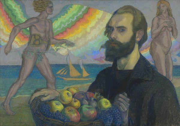 Autoportret z koszem owoców na tle morza - Jan Rembowski