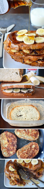 Banana and Nutella Stuffed French Toast #recipe @justataste