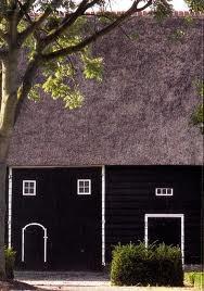 Zeeuwse boerderij, zwart, wi, mendeur en rietendak.