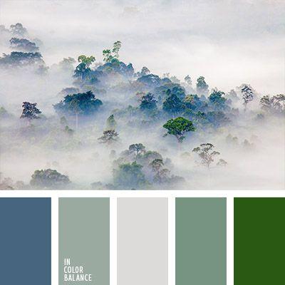 azul oscuro polvoriento, azul oscuro y verde, beige polvoriento, color gris, color gris verdoso, color niebla de mañana, color niebla en montaña, colores de la niebla mañanera, elección del color, tonos azul niebla, tonos pastel de color verde, tonos verdes, verde fuerte.