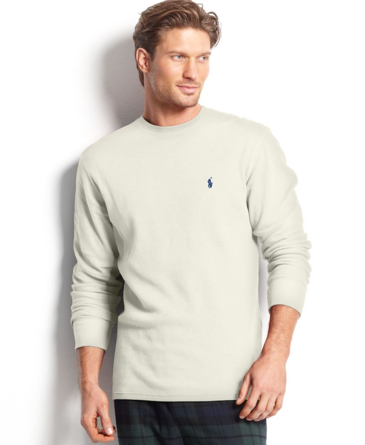 Polo Ralph Lauren Men's Loungewear, Big and Tall Long Sleeve Crew Neck Waffle Thermal Top