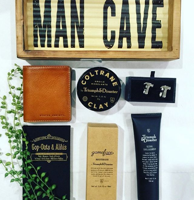 So many great selections to gift in our Man Cave for the hipster and hipster want to be #triumphanddisaster #mensskincare #naturalandorganic #cufflinksuite #menscufflinks #statusanxiety #menswallets #leather