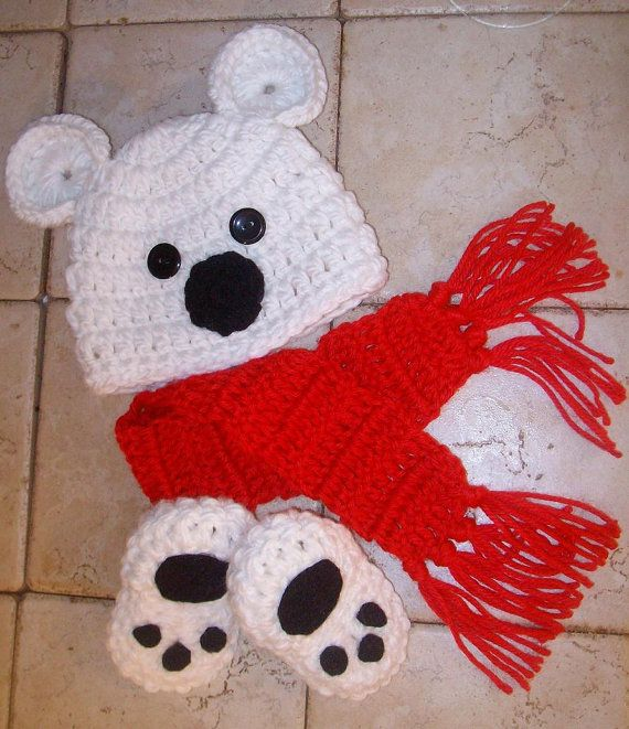 Baby Boy Hat POLAR BEAR Newborn Baby Boy or by JerribeccaHats2, $8.00
