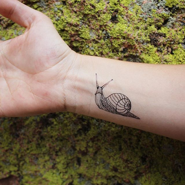 Snail temporary tattoo! Available on etsy.com/shop/naturetats #Regram via @naturetats