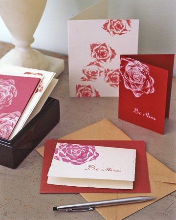 rose cards: Idea, Romaine Lettuce, Martha Stewart, Stamps, Valentines Cards, Cards Tutorials, Crafts Parties, Valentines Day Cards, Paper Towels