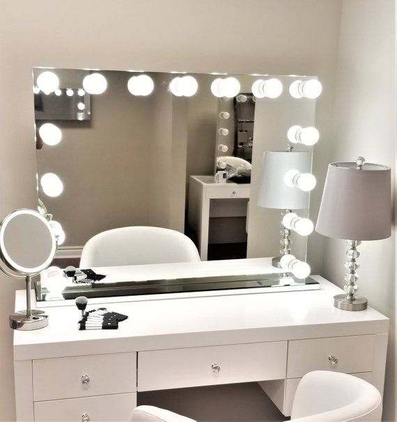 Xxl Dimmable Hollywod Forever Lighted Vanity Mirror Free Led