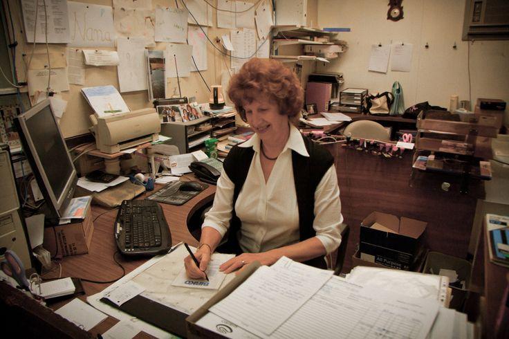Lorraine keeping the work flowing.