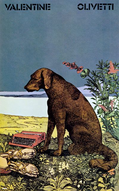 By: Milton Glaser. Poster for new Olivetti Typewriter. (I must say if there is one thing I've noticed looking through old Graphis Annuals it's that Olivetti consistently has some of the best work. In this case it's no surprise considering the designer of course.)