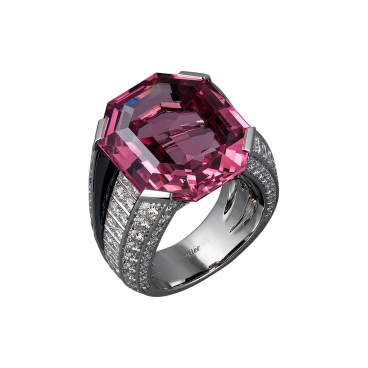 Cartier: HIGH JEWELRY RING  High Jewelry  Cartier Royal  ring, platinum, one 20.02 carat emerald-cut pink spinel, onyx, brilliant-cut diamonds.