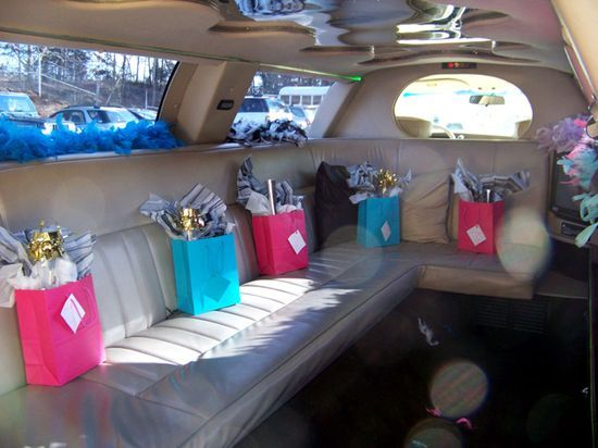 Teen Limo Party {16th or 18th Birthday Party Ideas}     Start the party off in style…with a limo ride!  The birthday girl and her friends were picked up at school and driven to a photo shoot.  In the limo gift bags, feather boas, and sparkling lemonade awaited them!  How fun is that for a teenage girl?!  After the photo shoot, the party continued at home with food, cake, and more fun.